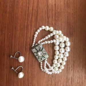 Jewelry - Antique pearl and stone bracelet and earrings